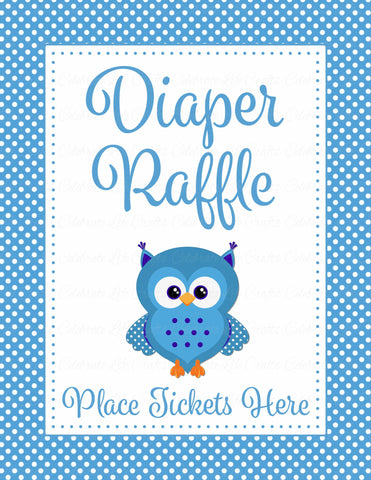 Diaper Raffle Tickets - Printable Download - Blue Polka Baby Shower Invitation Inserts - B2011