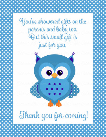 Thank You Favor Sign - Printable Download - Blue Polka Baby Shower Decorations - B2011