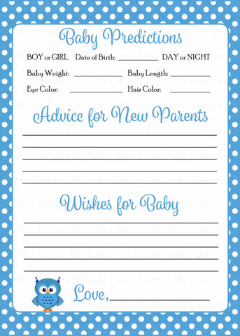 Prediction & Advice Cards - Printable Download - Blue Polka Baby Shower Activity - B2011
