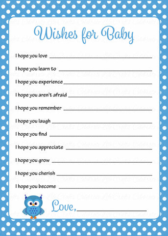Wishes for Baby Cards - Printable Download - Blue Polka Baby Shower Activity - B2011