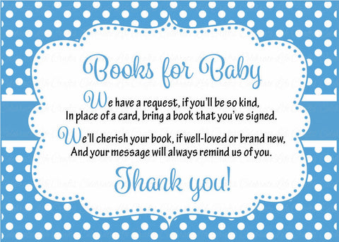 Books for Baby Cards - Printable Download - Blue Polka Baby Shower Invitation Inserts - Blue Polka - B2011