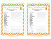 Baby Word Scramble - Printable Download - Orange & Green Baby Shower Game - B21001