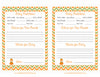 Prediction & Advice Cards - Printable Download - Orange & Green Baby Shower Activity - B21001