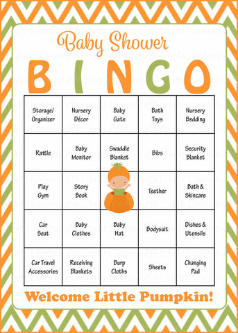 Little Pumpkin Baby Shower Game - Baby Bingo Cards for Boy - Printable Download - Prefilled - Orange & Green