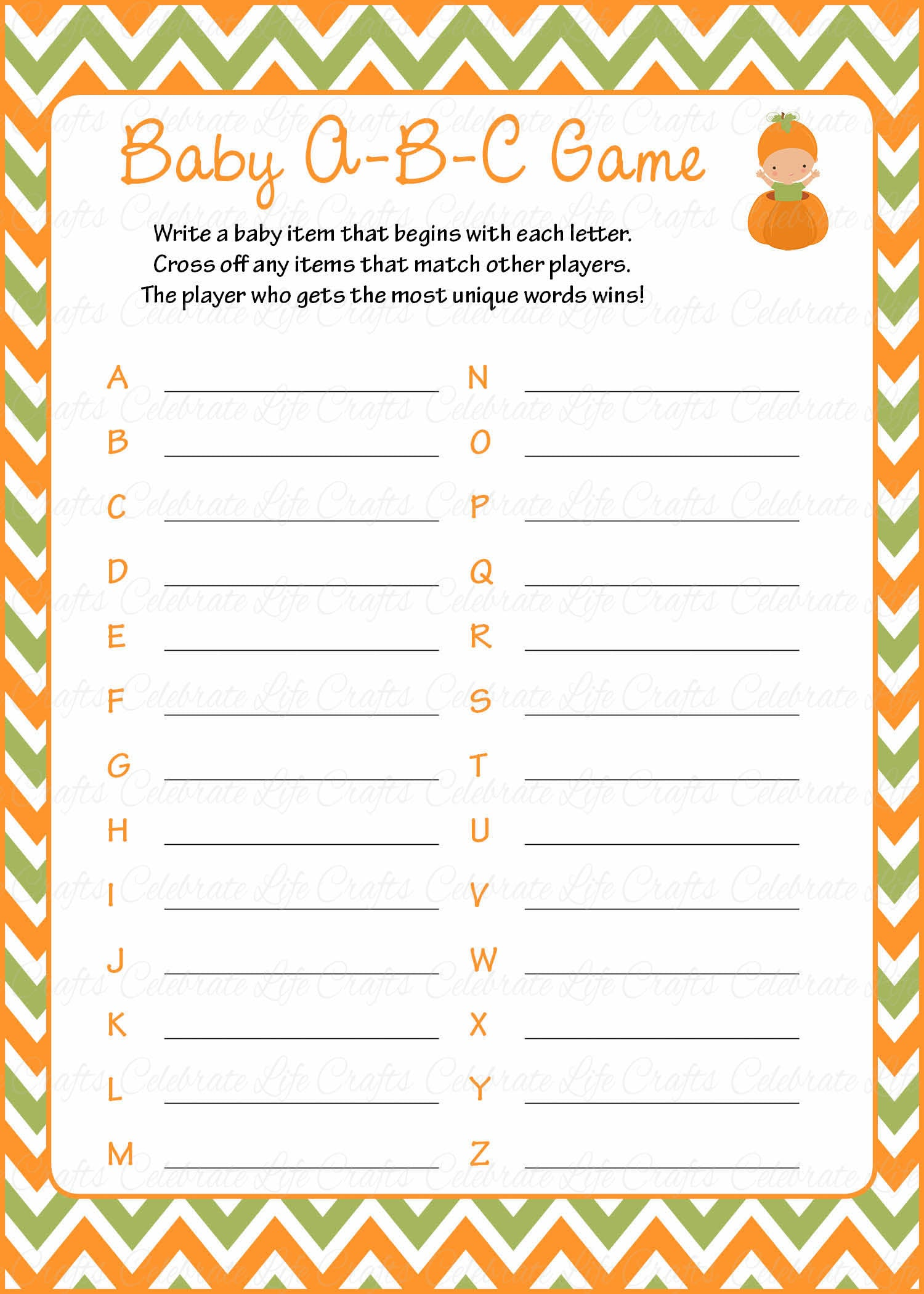 Baby ABCs Baby Shower Game Little Pumpkin Baby Shower Theme for