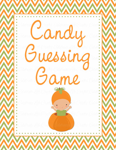 Candy Guessing Game - Printable Download - Orange & Green Baby Shower Game - B21001
