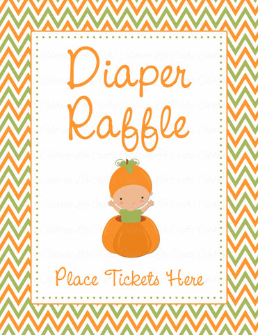 Diaper Raffle Tickets - Printable Download - Orange & Green Baby Shower Invitation Inserts - B21001