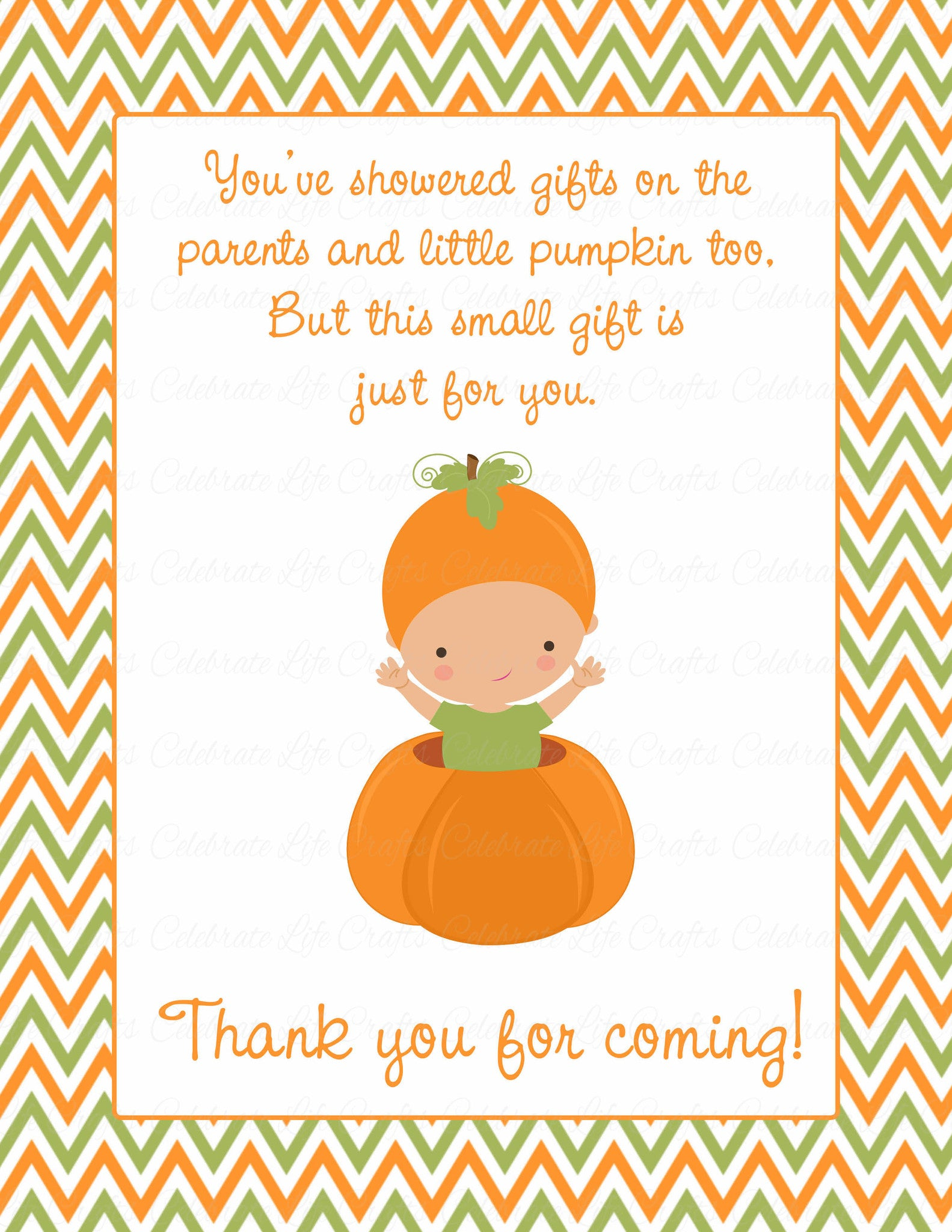 Thank You Favor Sign for Baby Shower Little Pumpkin Baby Shower
