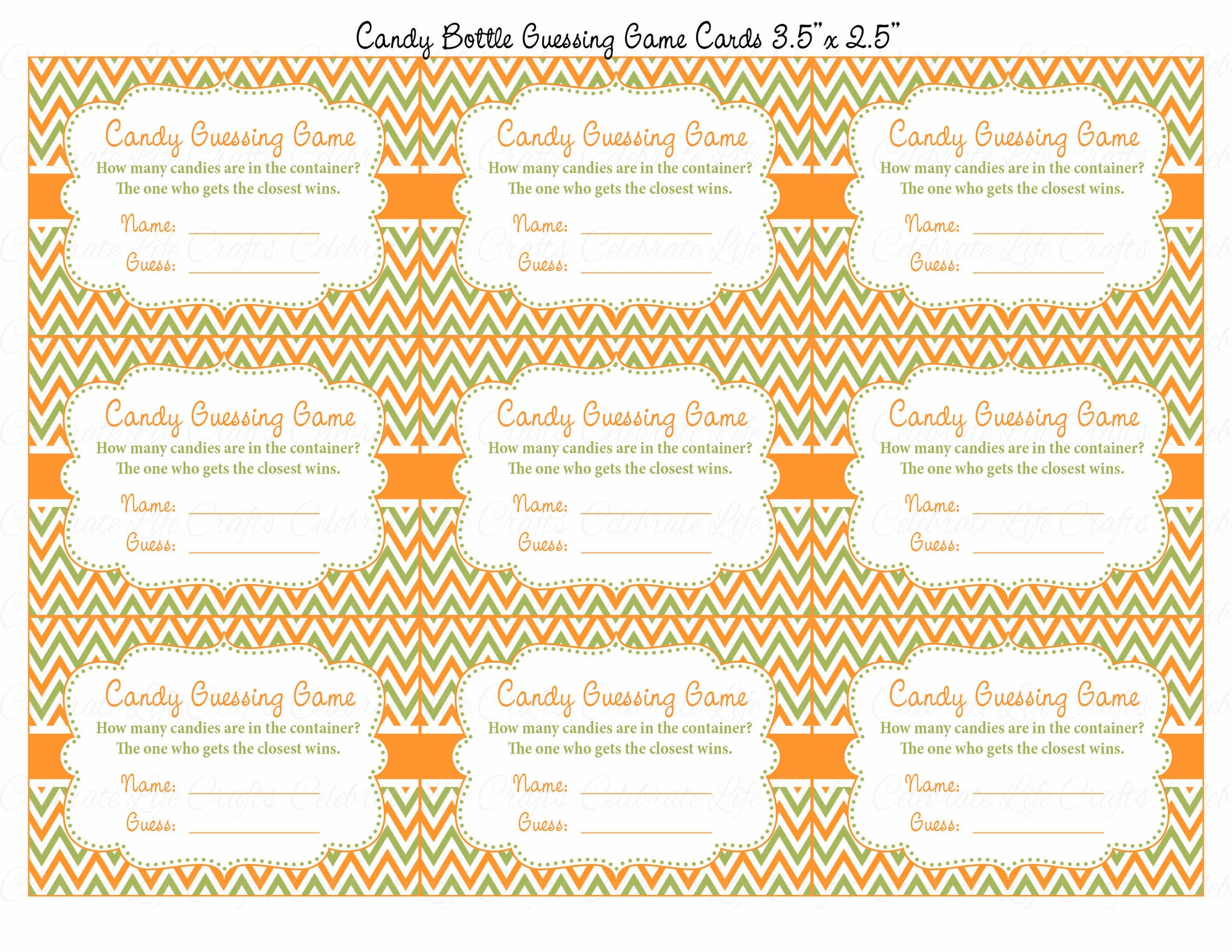 image regarding Guess Who Cards Printable referred to as Sweet Guessing Sport - Printable Down load - Orange Environmentally friendly Little one Shower Match - B21001