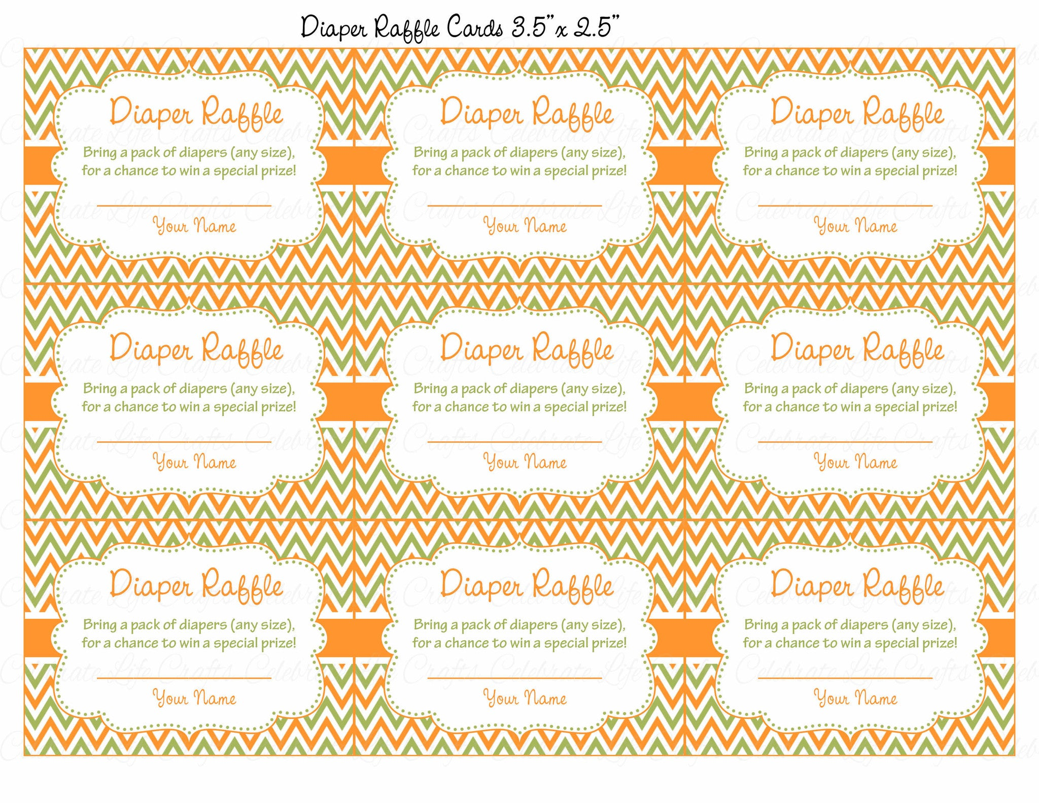 photograph about Diaper Raffle Printable named Diaper Raffle Tickets - Printable Down load - Orange Eco-friendly Kid Shower Invitation Inserts - B21001