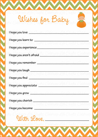 Wishes for Baby Cards - Printable Download - Orange & Green Baby Shower Activity - B21001