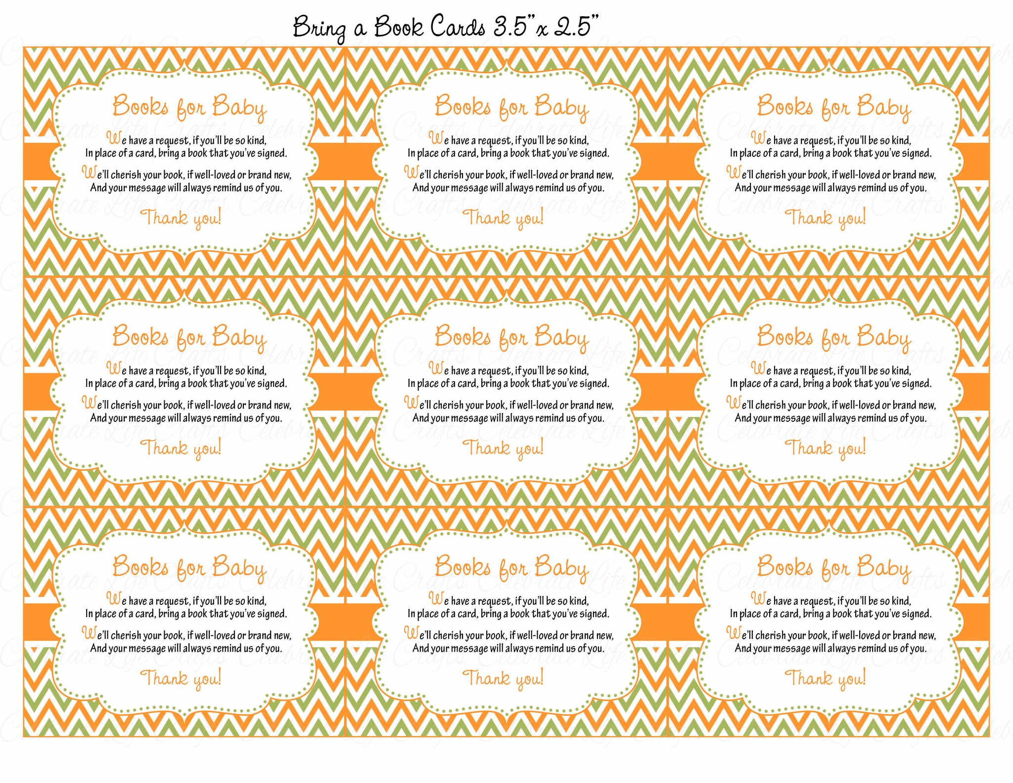... Books For Baby Cards   Printable Download   Orange U0026 Green Baby Shower  Invitation Inserts