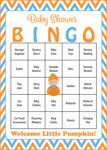 Little Pumpkin Baby Shower Game - Baby Bingo Cards for Boy - Printable Download - Prefilled - Orange & Blue