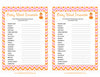 Baby Word Scramble - Printable Download - Orange & Pink Baby Shower Game - B21003