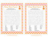 Baby Word Search - Printable Download - Orange & Pink Baby Shower Game - B21003