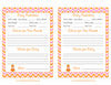 Prediction & Advice Cards - Printable Download - Orange & Pink Baby Shower Activity - B21003