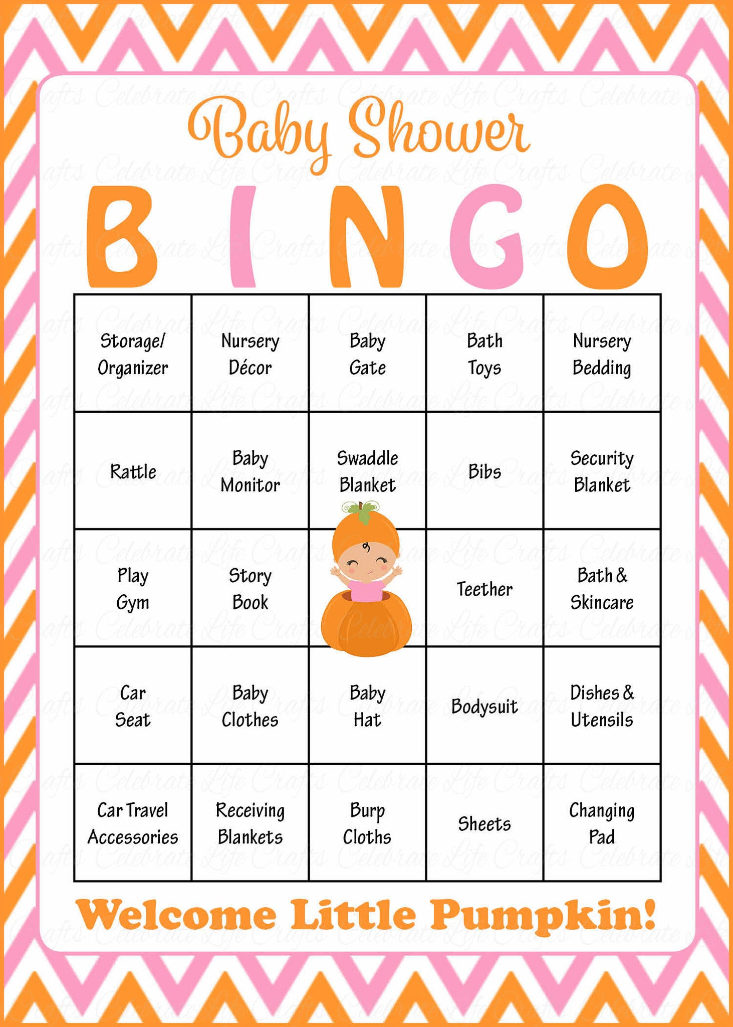 Little Pumpkin Baby Shower Game   Baby Bingo Cards For Girl   Printable  Download   Prefilled   Orange U0026 Pink.