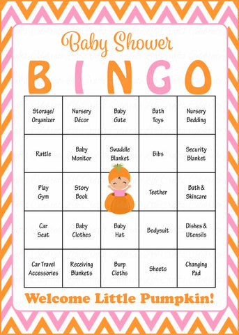 Little Pumpkin Baby Shower Game - Baby Bingo Cards for Girl - Printable Download - Prefilled - Orange & Pink