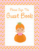 Baby Shower Guest List Set - Printable Download - Orange & Pink Baby Shower Decorations - B21003