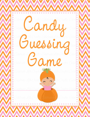 Candy Guessing Game - Printable Download - Orange & Pink Baby Shower Game - B21003