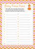 Baby Name Game - Printable Download - Orange & Pink Baby Shower Game - B21003