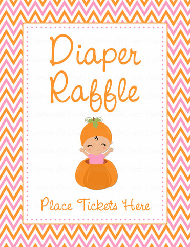 Diaper Raffle Tickets - Printable Download - Orange & Pink Baby Shower Invitation Inserts - B21003