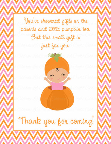 Thank You Favor Sign - Printable Download - Orange & Pink Baby Shower Decorations - B21003