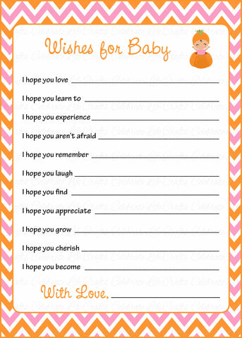 Wishes for Baby Cards - Printable Download - Orange & Pink Baby Shower Activity - B21003