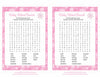 Baby Word Search - Printable Download - Pink Bokeh Winter Baby Shower Game - B22001