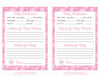 Prediction & Advice Cards - Printable Download - Pink Bokeh Winter Baby Shower Activity - B22001