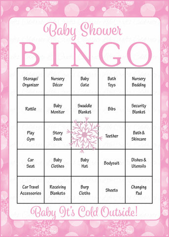 Winter Baby Bingo Cards - Printable Download - Prefilled - Baby Shower Game for Girl - Pink Bokeh