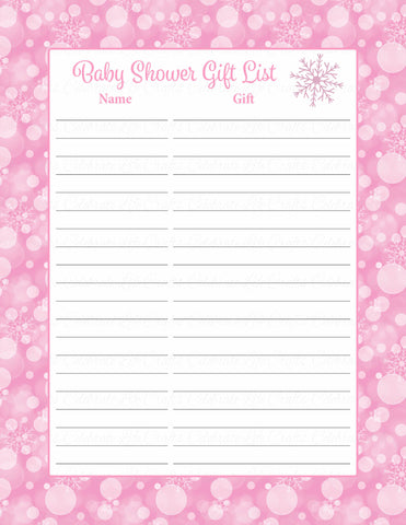 Baby Shower Gift List Set - Printable Download - Pink Bokeh Winter Baby Shower Decorations - B22001