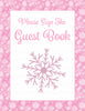 Baby Shower Guest List Set - Printable Download - Pink Bokeh Winter Baby Shower Decorations - B22001
