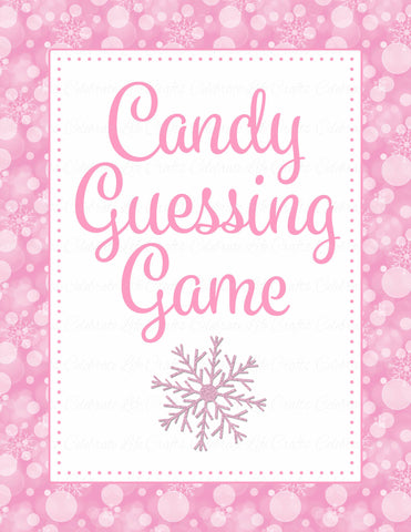 Candy Guessing Game - Printable Download - Pink Bokeh Winter Baby Shower Game - B22001