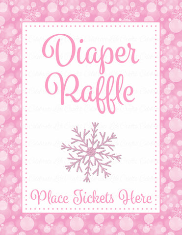 Diaper Raffle Tickets - Printable Download - Pink Bokeh Winter Baby Shower Invitation Inserts - B22001