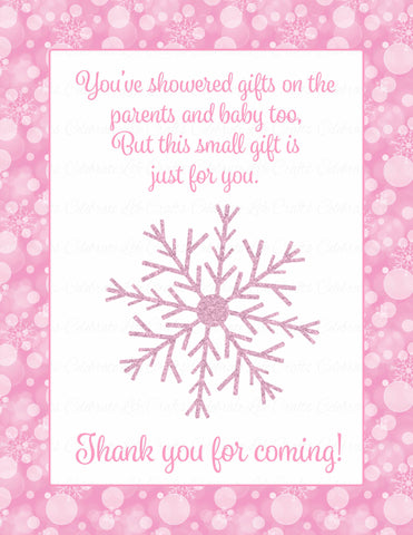 Thank You Favor Sign - Printable Download - Pink Bokeh Winter Baby Shower Decorations - B22001