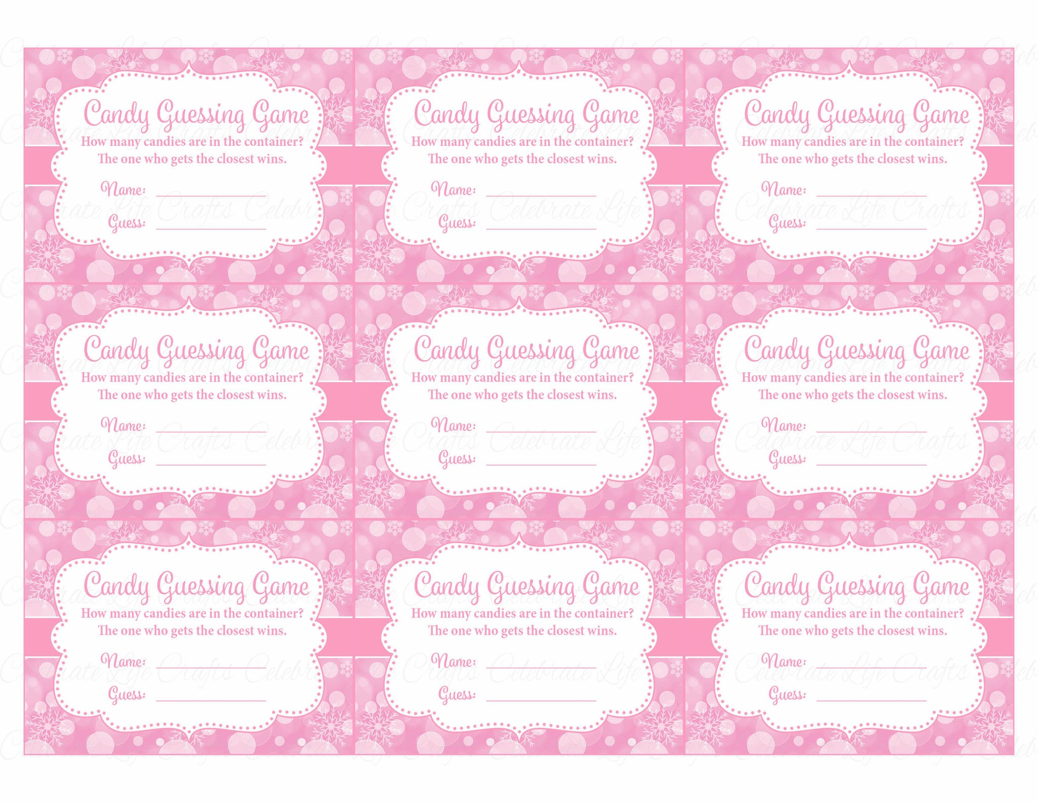 candy guess baby shower game winter baby shower theme for baby girl pink celebrate life crafts. Black Bedroom Furniture Sets. Home Design Ideas
