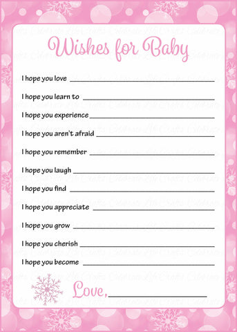 Wishes for Baby Cards - Printable Download - Pink Bokeh Winter Baby Shower Activity - B22001