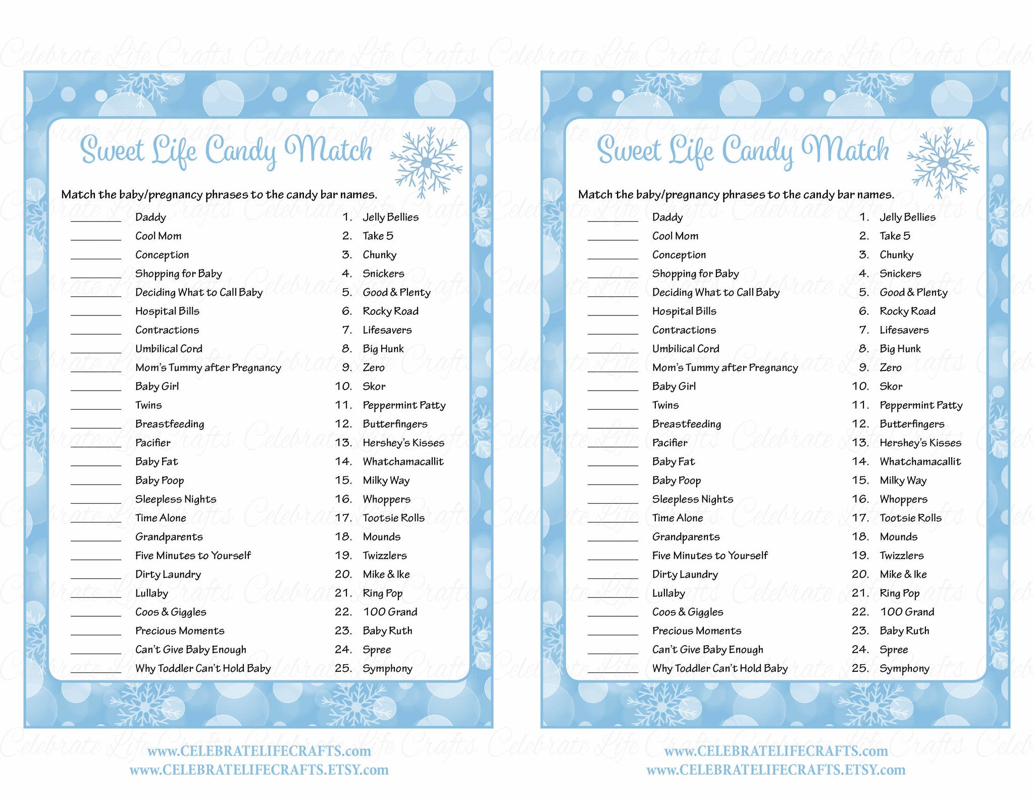... Sweet Life Candy Match Game   Printable Download   Blue Bokeh Winter Baby  Shower Game