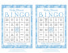 Winter Baby Bingo Cards - Printable Download - Prefilled - Baby Shower Game for Boy - Blue Bokeh