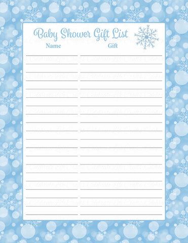Baby Shower Gift List Set - Printable Download - Blue Bokeh Winter Baby Shower Decorations - B22002