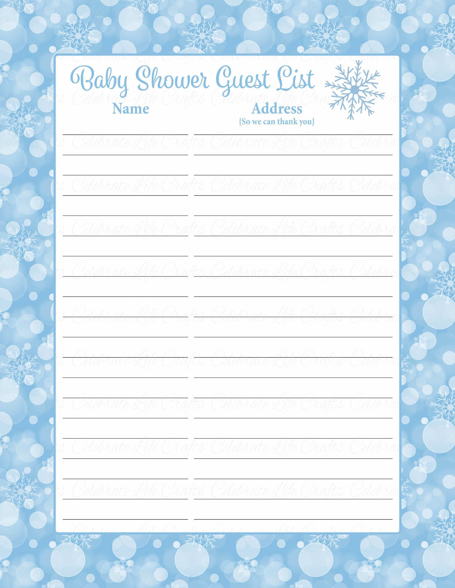 photograph about Baby Shower Sign in Sheet Printable titled Boy or girl Shower Visitor Record Mounted - Printable Obtain - Blue Bokeh Wintertime Boy or girl Shower Decorations - B22002