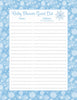 Baby Shower Guest List Set - Printable Download - Blue Bokeh Winter Baby Shower Decorations - B22002
