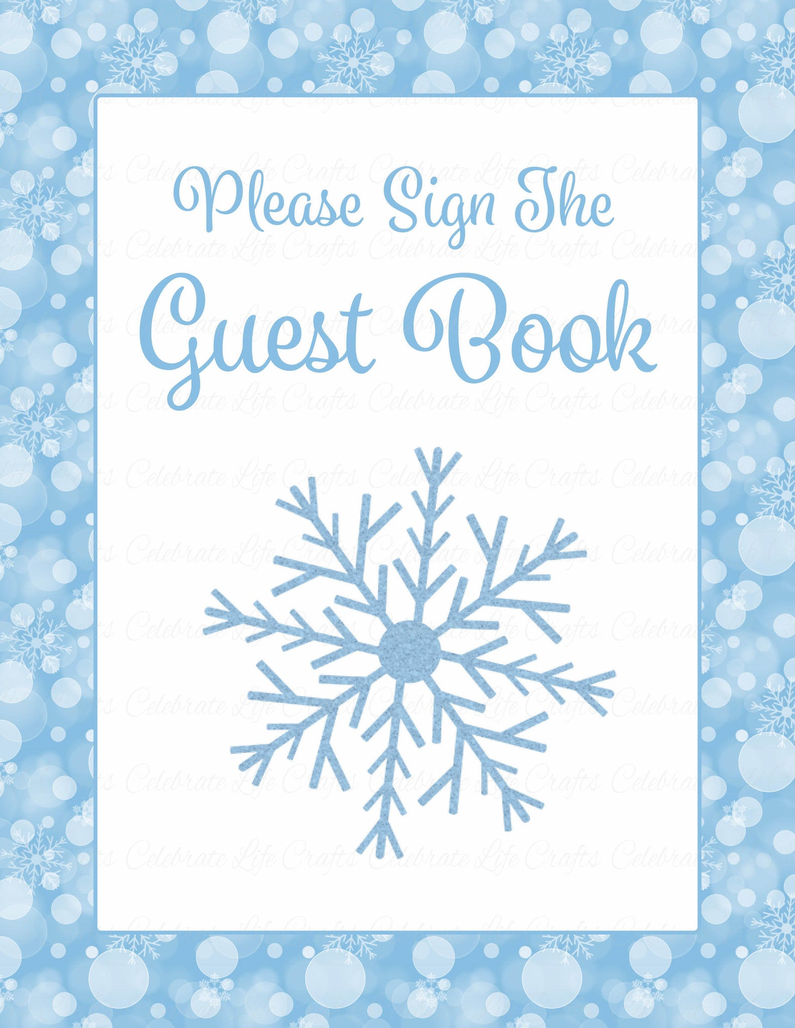 photo regarding Printable Baby Shower Decorations identified as Child Shower Visitor Listing Fixed - Printable Obtain - Blue Bokeh Winter season Kid Shower Decorations - B22002