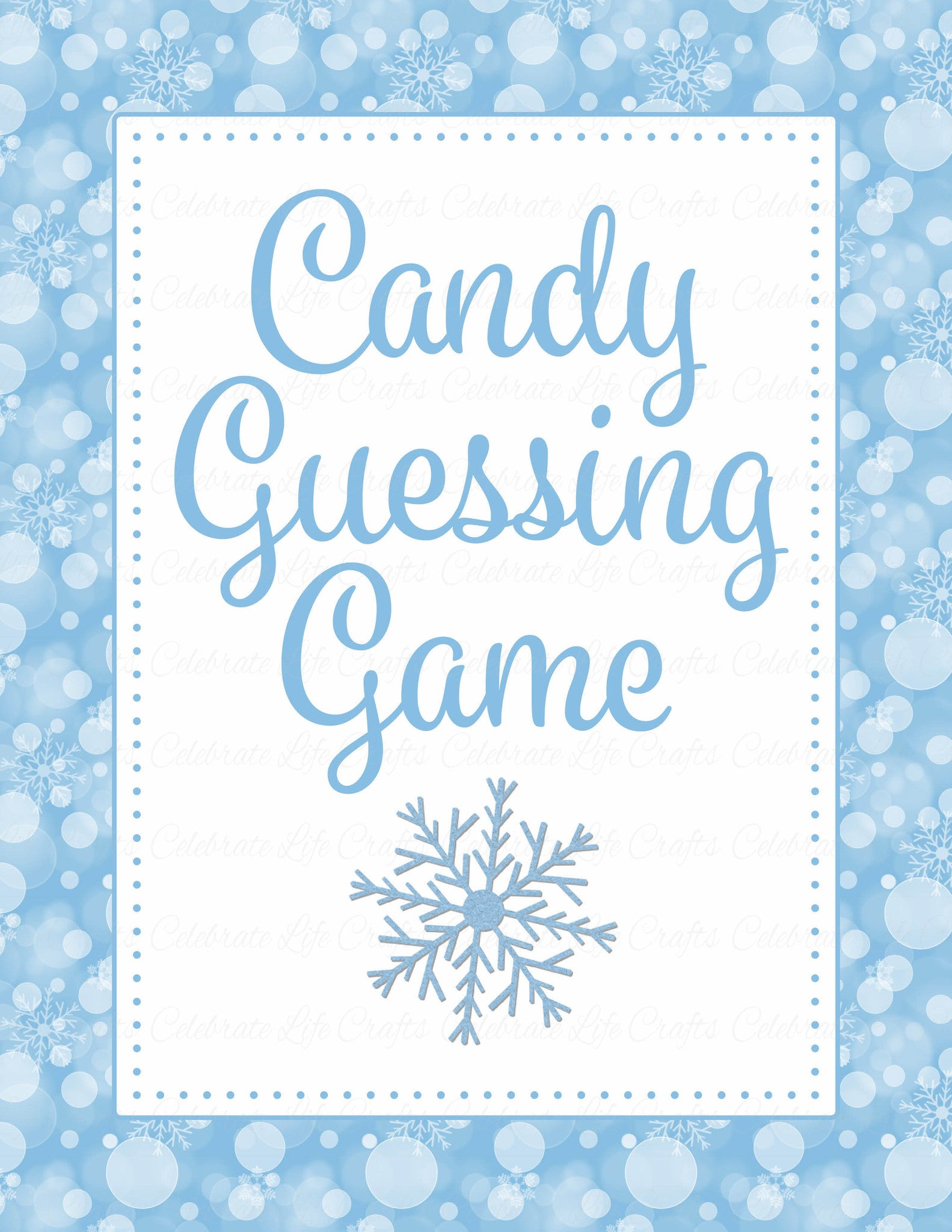 graphic relating to Guess Who Game Printable called Sweet Guessing Match - Printable Obtain - Blue Bokeh Winter season Boy or girl Shower Sport - B22002