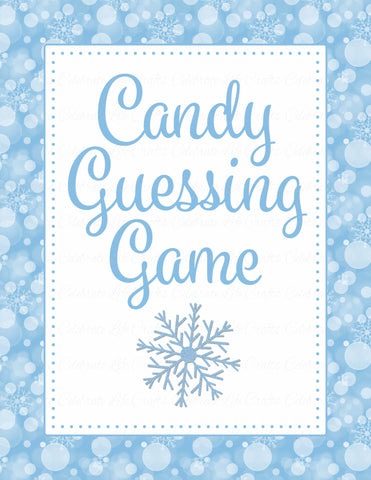 Candy Guessing Game - Printable Download - Blue Bokeh Winter Baby Shower Game - B22002