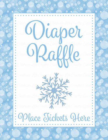 Diaper Raffle Tickets - Printable Download - Blue Bokeh Winter Baby Shower Invitation Inserts - B22002