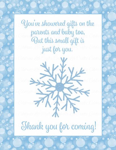 Thank You Favor Sign - Printable Download - Blue Bokeh Winter Baby Shower Decorations - B22002