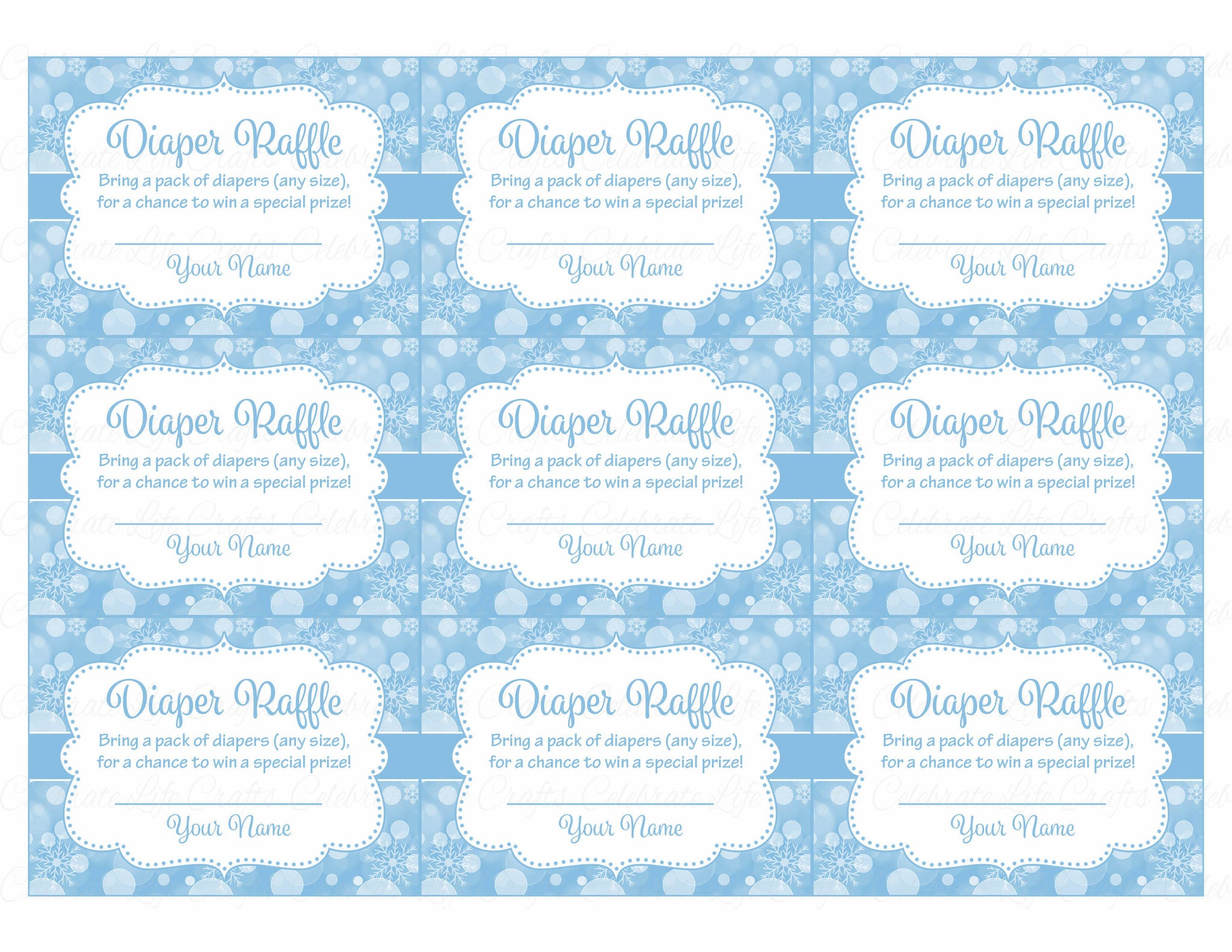 picture about Printable Diaper called Diaper Raffle Tickets - Printable Down load - Blue Bokeh Wintertime Kid Shower Invitation Inserts - B22002