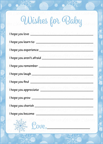 Wishes for Baby Cards - Printable Download - Blue Bokeh Winter Baby Shower Activity - B22002